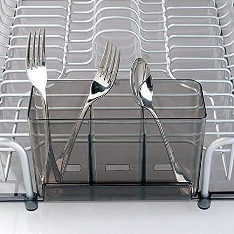 mDesign escurreplatos de encimera con Cesta para Cubiertos - Práctico escurridor de vajilla de Aluminio Inoxidable - Seca Platos, Vasos, Copas y ...