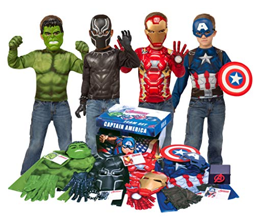 Imagine by Rubie's Avengers Team Trunk Set with Iron Man, Captain America, Hulk, Black Panther Costumes, -