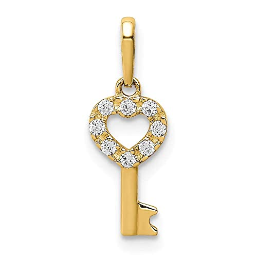 14k Yellow Gold CZ Key Pendant Charm