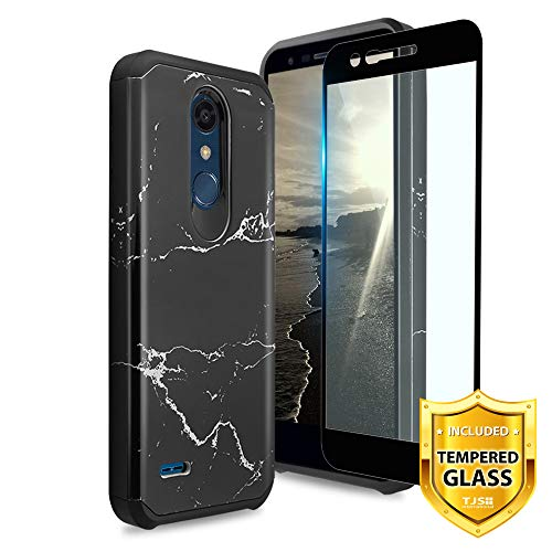 TJS LG K10 2018/LG K30/LG Premier Pro LTE/LG Harmony 2/LG Phoenix Plus Case, [Tempered Glass Screen Protector] Dual Layer Hybrid Shockproof Protection Rugged Marble Phone Case Cover (Black)