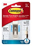 Command Modern Reflections Metal Bath Hook, Small, Satin Nickel, 1-Hook with Water-Resistant Strips (MR01-SN-BES)