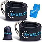 ByxBody Ankle Straps for Cable Machines and Resistance Band, Double D-Ring Adjustable Padded Ankle Straps for Women, Fitness Ankle Cuffs for Gym, Weightlifting, Legs, Abs, Glute Exercises