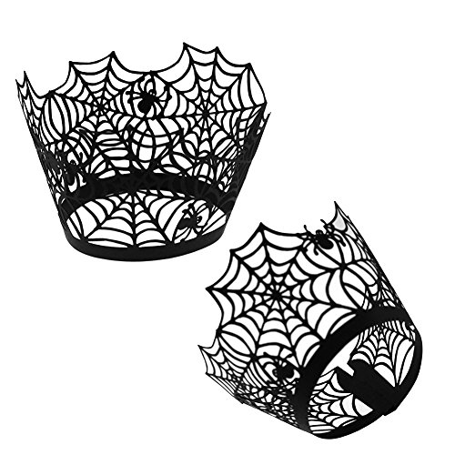 6MILES 50 PCS Black Spider Web Cupcake Wrappers