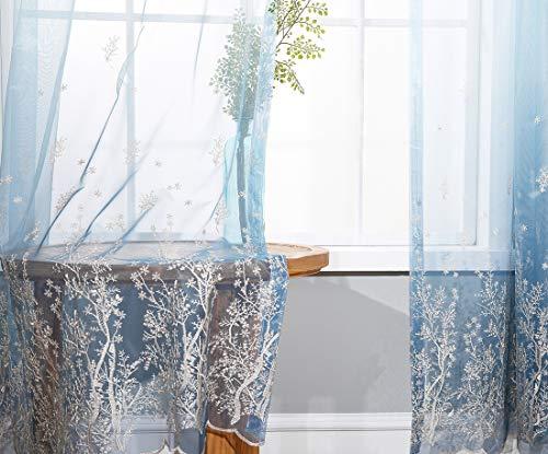 - Cherhoo Blue Ombre Light Filtering Embroidered Sheer Curtains for Bedroom Tulle Rod Pocket Voile Sheer Curtains for Living Room(Soft, 2 Panels, 52 W×84 Inch Length, Blue)
