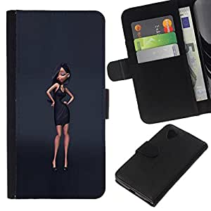 All Phone Most Case / Oferta Especial Cáscara Funda de cuero Monedero Cubierta de proteccion Caso / Wallet Case for LG Nexus 5 D820 D821 // gris estilo de diseño de moda vestido negro