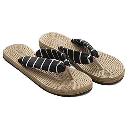 Beach Women's Flat Linen ENCOCO Shoes Breathable Slipper Non Flop Sandals Slip Black Sandals Flip wvTTxXB