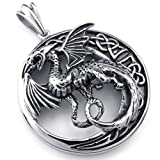 KONOV Mens Gothic Tribal Dragon Stainless Steel Pendant Necklace, Black Silver, 24 inch Chain
