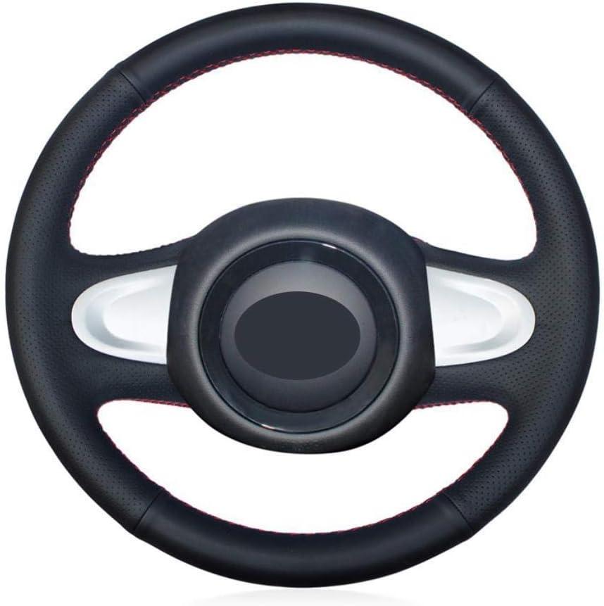 MDHANBK Cubierta de Volante de Coche Antideslizante de Cuero Negro Cosida a Mano, para Mini Coupe 2013 (2 Rayos) interio automotriz