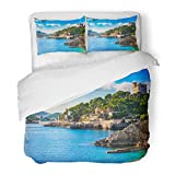 SanChic Duvet Cover Set Island Scenery Seascape Majorca Spain Idyllic Coastline Cala Rajada Mediterranean Sea Decorative Bedding Set 2 Pillow Shams King Size
