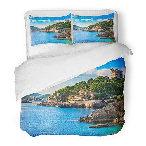 SanChic Duvet Cover Set Island Scenery Seascape Majorca Spain Idyllic Coastline Cala Rajada Mediterranean Sea Decorative Bedding Set 2 Pillow Shams King Size by SanChic
