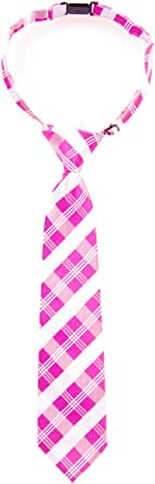 Retreez Tartan Plaid Patterns Woven Microfiber Pre-tied Boy's Tie - Pink and White - 6-18 months
