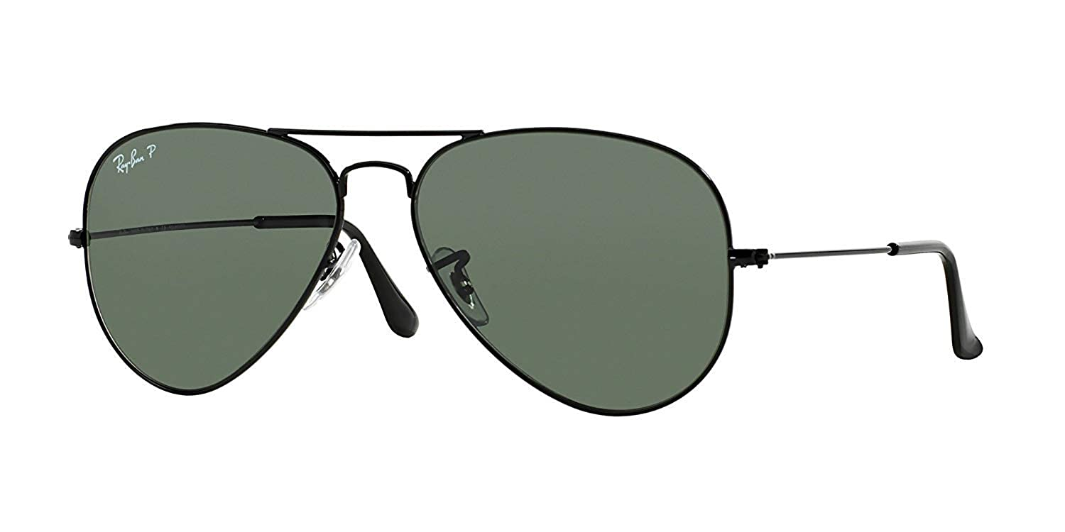 2b9e60b703 Amazon.com  Ray-Ban Aviator Polarized Black Frame With Natural Green Rb  3025 002 58 62mm Large  Shoes