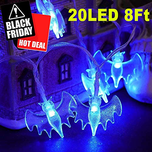 Jupitaz Led String Lights 7.2ft 20 Led Cute Bat Lights Waterproof Decorate for Indoor Outdoor Bedroom Dorm Room Classroom Home Garden Seasonal Lighting Party Christmas Battery Operated(Blue) ()