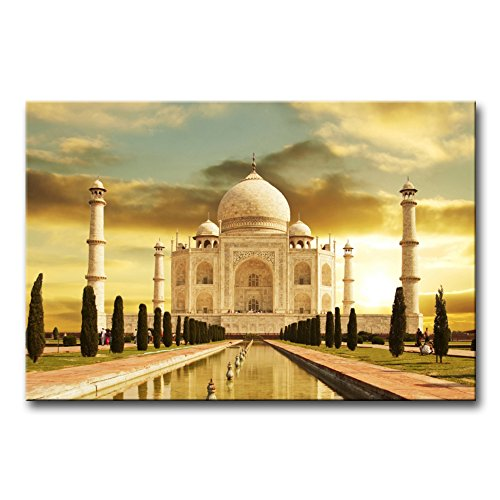 So Crazy Art - Canvas Print Wall Art Painting For Home Decor,White Marble Taj Mahal Palace In Agra India On Sunrise India Uttar Pradesh Paintings Modern Giclee Stretched And Framed Artwork The Picture For Living Room Decoration,Landscape Pictures Photo Prints On Canvas
