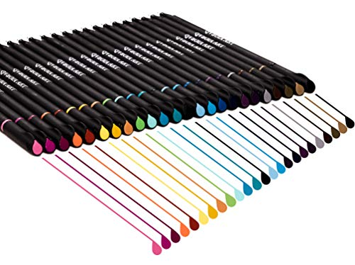 Colored Journaling Pens - Fine Tip Planner Pens - 24 Colors Thin Pens Journal Markers Fineliner Pens Journal Pens for Drawing - Suitable for Bullet Notes Planners - Thin Line Office Supplies
