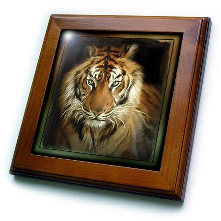 3dRose ft_41377_1 Portrait of a Tiger Framed Tile, 8 by 8-Inch (Tiger Framed Tile)