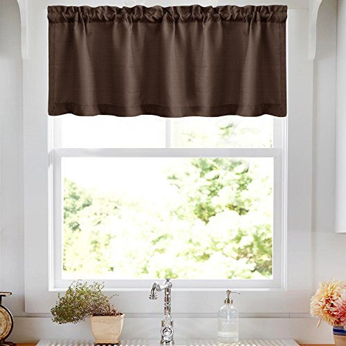 - Valance Rod Pocket for Kitchen Semi Sheer Valance Curtains Casual Weave Textured Cafe Valance for Bathroom 18 inches, 1 Panel,W50xL18 Panel, Brown