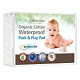 Travel Pack N Play Organic Cotton Waterproof Pack 'N Play Crib Pad - Natural Baby Crib Mattress Cover and Protector - Fitted, Unbleached, Non-Toxic & Hypoallergenic