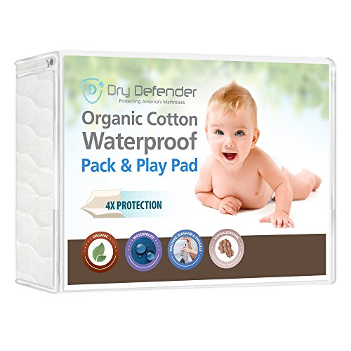 Organic Cotton Waterproof Pack 'N Play Crib Pad - Natural Baby Crib Mattress Cover and Protector - Fitted, Unbleached, Non-Toxic & Hypoallergenic ()
