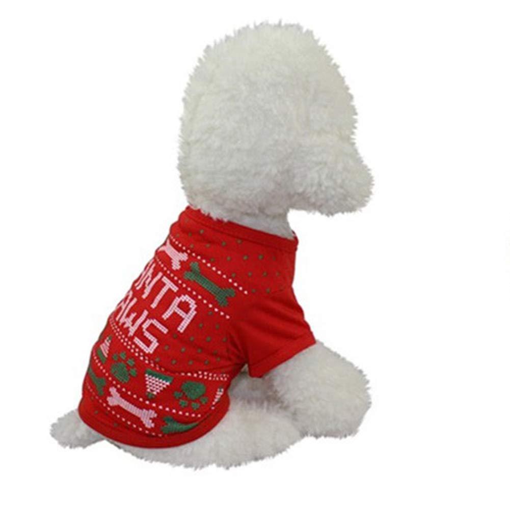 Angelof VêTements Chien/Chat Christmas Accessoires pour Animaux De Compagnie, Habit Hiver Peluche Pull Habillement Rouge XL