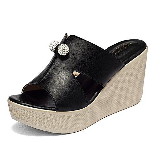 fereshte Women's Peep-Toe Rhinestone Wedge High Heel Platform Sandals Black US (Black Retro Wedge Sandals)