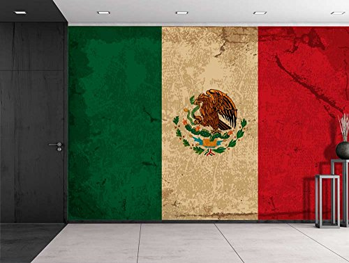 Large Wall Mural Vintage Flag of Mexico Vinyl Wallpaper Removable Decorating