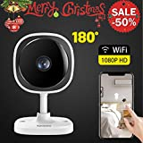 Wireless Security Camera 1080P,180 Degree Panoramic Camera with Motion Detection,Night Vision,Two-Way Audio,Home Security WiFi IP Camera for Office/Baby/Nanny/Pet Monitor (1 Pack) Review