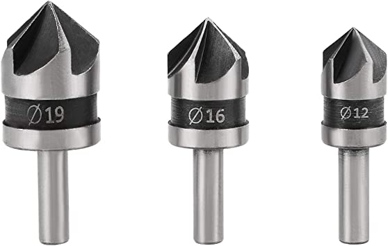 3Pcs 5 Flute Countersink Drill Bit 90° Round Shank Wood Chamfering Cutter Tool