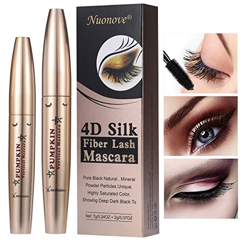 4D Silk Fiber Lash Mascara, 4D Mascara, Mascara Fiber Lashes, Extra Long Lash Mascara, Long-Lasting, Waterproof & Smudge-Proof, No Clumping, Lengthening and Thick
