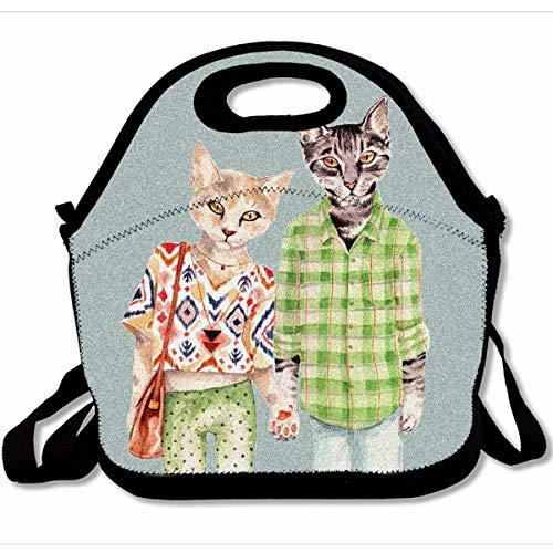 Ahawoso Reusable Insulated Lunch Tote Bag Slimmingpiggy Cat 10X11 Zippered Neoprene School Picnic Gourmet Lunchbox (Cat Carnival Enclosure)