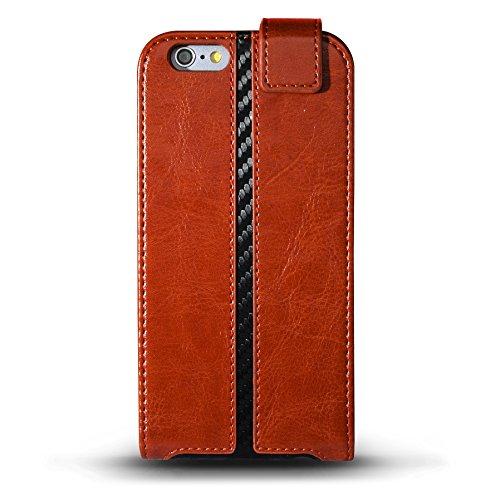"iPhone 6 (4.7"") Case, MarBlue JagFolio Flip for iPhone 6  - Brown/Carbon Fiber"