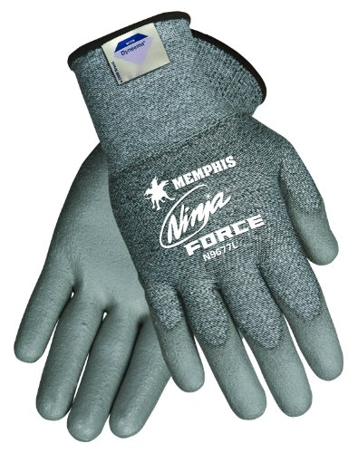 MCR Safety N9677L Ninja Force Polyurethane/Dyneema 13-Gauge Gloves, Gray, Large, 1-Pair by MCR Safety