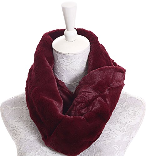 Faux Fur Neck Warmer Wine Colored Infinity Scarf for Women Girls Winter Scarves (Colored Fur)