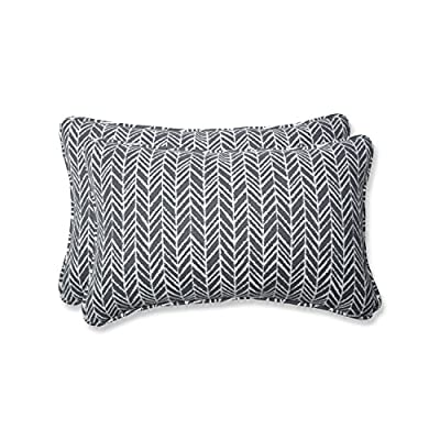Pillow Perfect Outdoor | Indoor Rectangular Throw Pillow (Set of, Herringbone Slate Grey, 2 Piece - Includes two (2) outdoor pillows, resists weather and fading in sunlight; suitable for indoor and outdoor use Plush fill - 100-percent polyester fiber filling Edges of outdoor pillows are trimmed with matching fabric and cord to sit perfectly on your outdoor patio furniture - patio, outdoor-throw-pillows, outdoor-decor - 517ZYZTyLIL. SS400  -