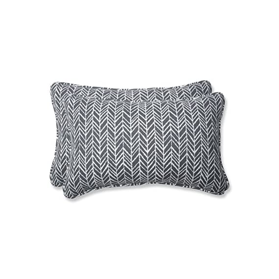 """Pillow Perfect Outdoor/Indoor Herringbone Slate Lumbar Pillows, 11.5"""" x 18.5"""", Gray, 2 Pack - Includes two (2) outdoor pillows, resists weather and fading in sunlight; suitable for indoor and outdoor use Plush fill - 100-percent polyester fiber filling Edges of outdoor pillows are trimmed with matching fabric and cord to sit perfectly on your outdoor patio furniture - patio, outdoor-throw-pillows, outdoor-decor - 517ZYZTyLIL. SS570  -"""