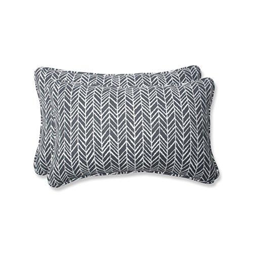 Pillow Perfect Outdoor | Indoor Herringbone Slate Rectangular Throw Pillow (Set of of, 2 Piece