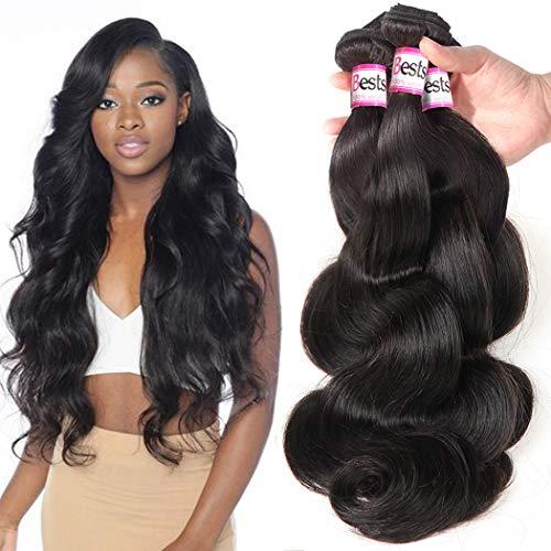 Bestsojoy Brazilian Virgin Hair Body Wave Remy Human Hair 3 Bundles Weave 100% Unprocessed Brazilian Hair Extensions Natural Color (20 20 20)