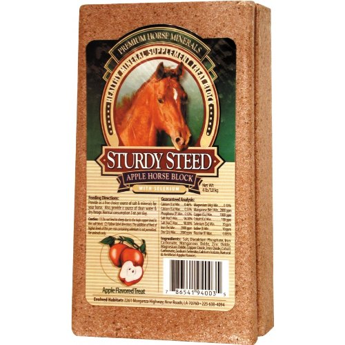 (Sturdy Steed Healthy Mineral Supplement Apple Treat Block For Horses, 4 Pounds)