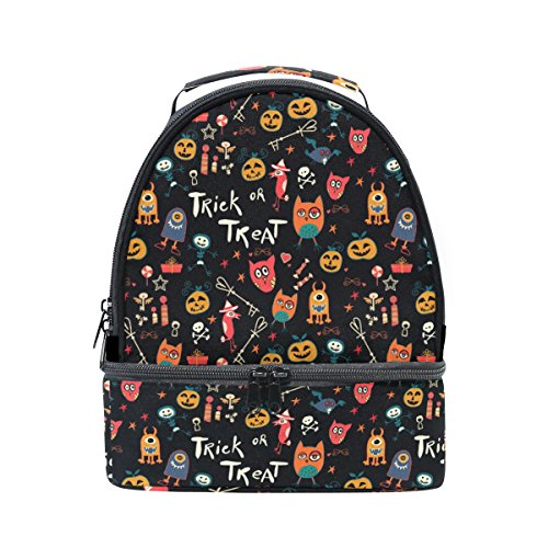 (Naanle Colorful Halloween Cartoon Doodle Pumpkin, Owl and Spooky Double Decker Insulated Lunch Box Bag Waterproof Leakproof Cooler Thermal Tote Bag Large for Men Women Youth)