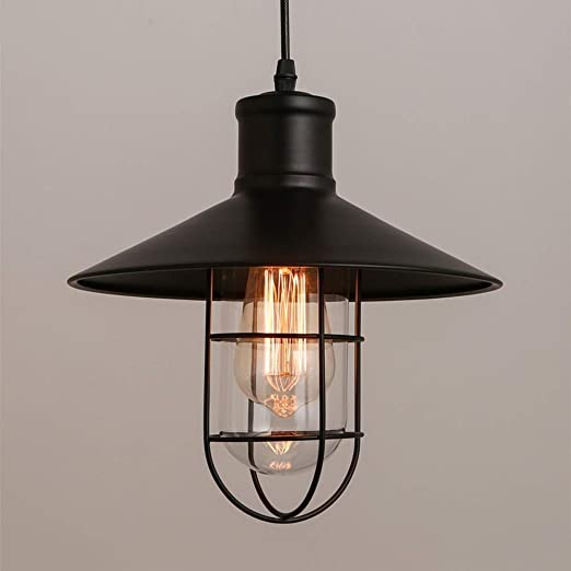 Lámpara colgante retro de metal de jaula negra Lámpara colgante ...