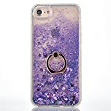 iPhone 6 Plus/6S Plus Case [With Free Tempered Glass Screen Protector],Mo-Beauty® Flowing Liquid Floating Flowing Bling Shiny Sparkle Glitter Crystal Clear Plastic Hard Case Protective Shell Case Cover For Apple iPhone 6 Plus/6S Plus (Purple)
