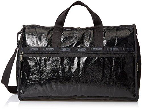 LeSportsac Large Weekender Bag, Black Crinkle Patent, One Size