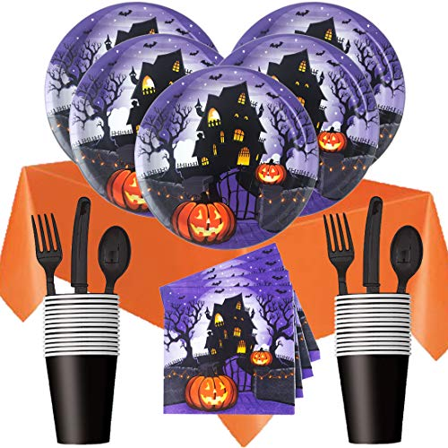 Halloween Party Supplies Premium Disposable Bundle - Plates, Napkins, Cups, Silverware, Table Cover - Spooky Haunted House (Serves 16) -