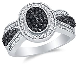 Size 8.75 - 10K White Gold Black & White Round Diamond Halo Circle Engagement Ring - Channel Set Oval Center Setting Shape (1/2 cttw.)
