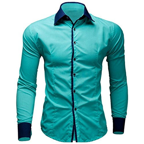 re Color Long Sleeve Shirt Business Slim Fit Shirt Printed Blouse(Mint Green,L) ()
