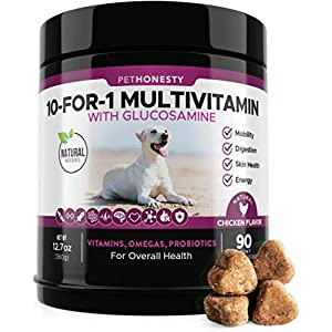10 for 1 Dog Multivitamin with Glucosamine – Essential Dog Vitamins with Glucosamine Chondroitin, Probiotics and Omega Fish Oil for Dogs Overall Health – Glucosamine for Dogs Joint Supplement Heart