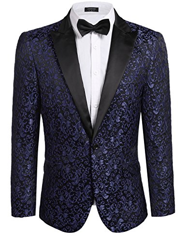 COOFANDY Men's Floral Party Dress Suit Stylish Dinner Jacket Wedding Blazer One Button Tuxdeo,Navy Blue,US M(Chest 44.9)
