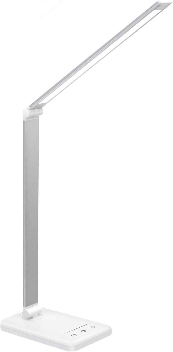 Lámpara Escritorio LED,Lámparas de Mesa USB Regulable Recargable-2000mAh Plegable Luz(5 * 10 Modos de Brillo,Temporizador de 30/60min,Modo de memoria inteligente) Para Leer,Estudiar, Protege a ojos