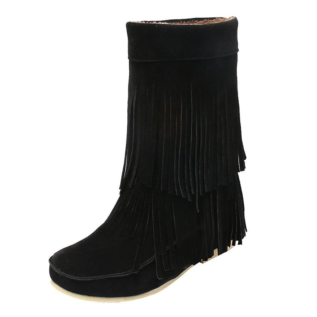 UH Compensees Chaussures B072RXH1Z3 Femmes Femmes Bottines Indiennes avec Frange à Talons Compensees avec Plateforme Bout Rond et Fouffures Douce et Chaud Noir d9eb686 - fast-weightloss-diet.space