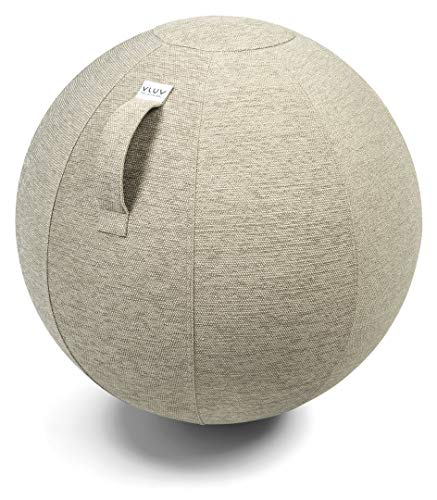 VLUV STOV Premium Quality Self-Standing Sitting Ball with Handle - Home or Office Chair and Exercise Ball for Yoga, Back Stretching, or Gym- Upholstery Fabric Stability Ball (Pebble, 25.6